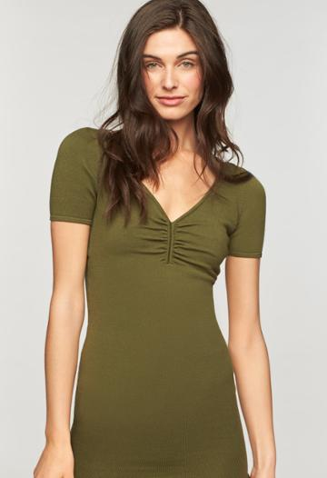 Milly Shirred V Neck Dress - Olive