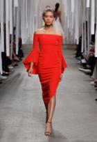 Milly Italian Cady Selena Slit Dress - Flame
