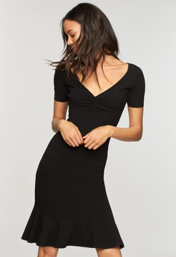 Milly Shirred V Neck Dress - Black