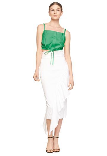 Milly Cascade Tie Skirt - White