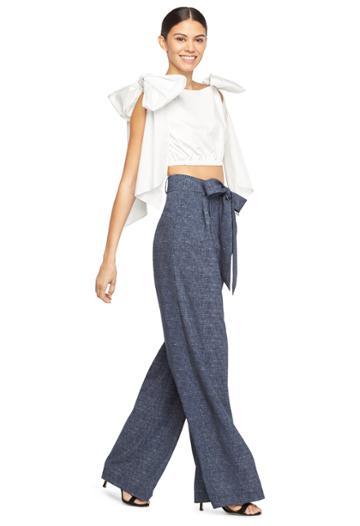 Milly Cotton Stretch Poplin Tara Bow Top Long