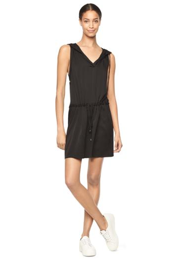 Milly Stretch Silk Hoodie Dress