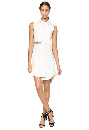 Milly Exclusive Lightweight Leather Cutout Shirtdress