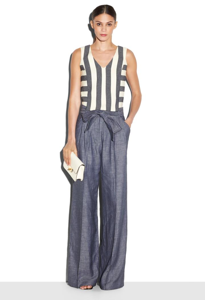 Milly Graphic Stripe Vneck Shell