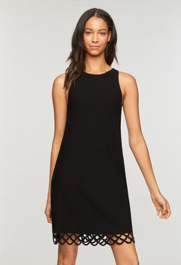 Milly Eyelet Scallop Shift Dress - Black