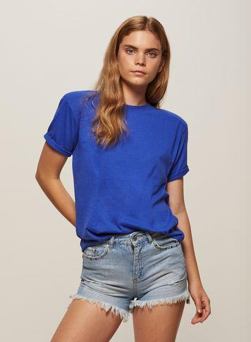 Miss Selfridge Womens Blue Shoulder Padded T-shirt