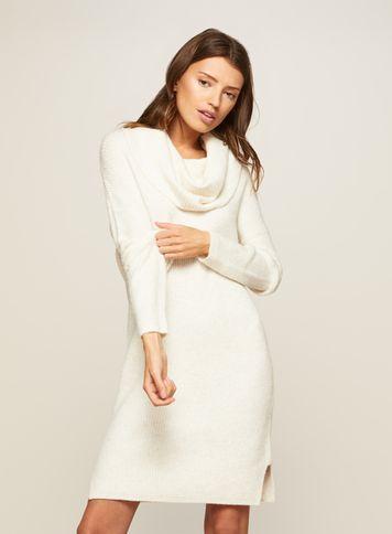 Miss Selfridge Womens Cream Slouchy Cowl Neck Knitted Dress