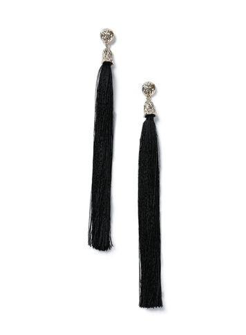 Miss Selfridge Womens Statement Black Tassel Earring