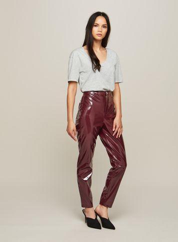 Miss Selfridge Womens Burgundy Vinyl Steffi Trousers