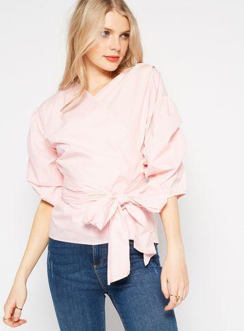 Miss Selfridge Womens Pink Puff Sleeve Wrap Blouse