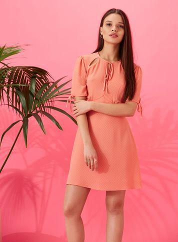 Miss Selfridge Womens Petite Coral Spotted Tea Dress