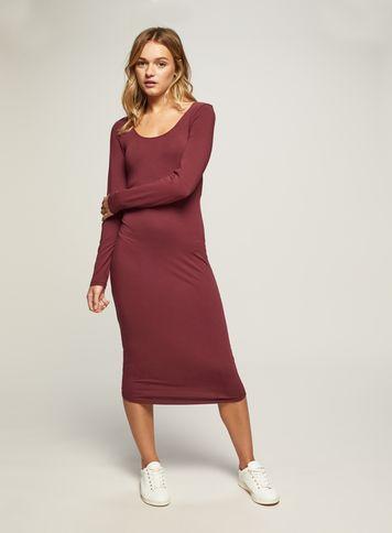 Miss Selfridge Womens Burgundy Midi Bodycon Dress