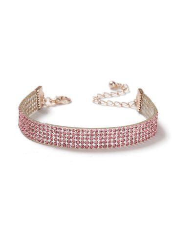 Miss Selfridge Womens Pink Rhinestone Bracelet