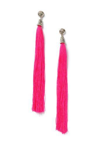Miss Selfridge Womens Statement Pink Tassel Earrings