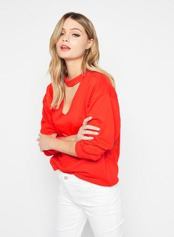 Miss Selfridge Womens Red Choker Neck Sweatshirt