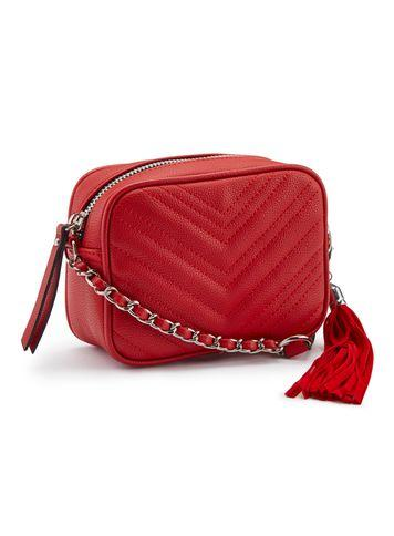 Miss Selfridge Womens Red Quilted Cross Body Bag