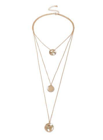 Miss Selfridge Womens Gold Organic Disc Multirow Necklace