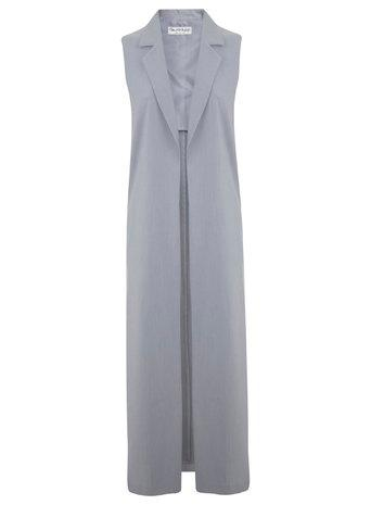 Miss Selfridge Womens Grey Maxi Sleeveless Jacket