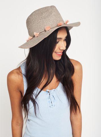Miss Selfridge Womens Grey Pretty Straw Fedora Hat