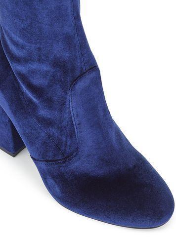 Miss Selfridge Womens Koko Velvet Tie Over The Knee Boots