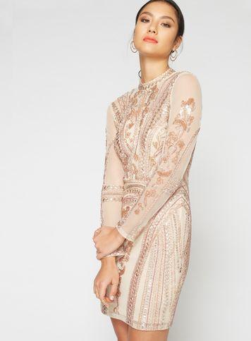 Miss Selfridge Womens Premium Embellished Keyhole Shift Dress