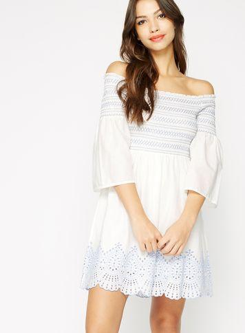Miss Selfridge Womens Shirred Embroidered Cutwork Dress
