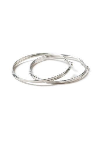 Miss Selfridge Womens Etched Silver Hoops