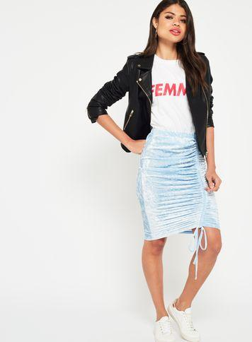 Miss Selfridge Womens Blue Ruched Velvet Skirt