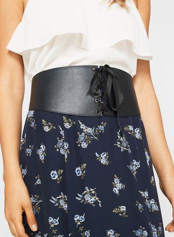 Miss Selfridge Womens Black Lace Up Corset Belt