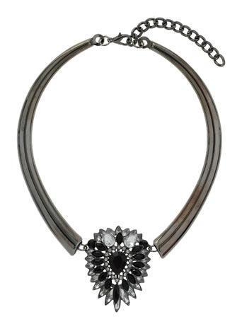 Womens Black Stone Collar