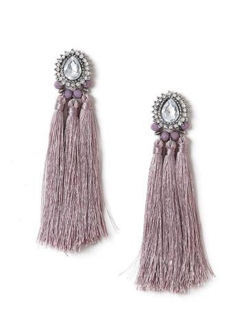 Miss Selfridge Womens Statement Lilac Jewelled Tassel Earrings