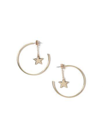 Miss Selfridge Womens Front And Back Star Drop Hoops