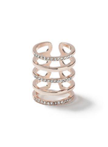 Miss Selfridge Womens Rose Gold Crystal Ring