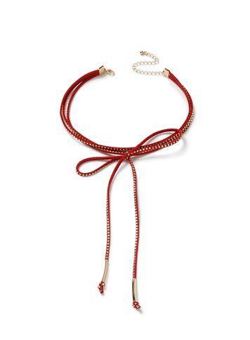 Miss Selfridge Womens Red Studed Bow Choker