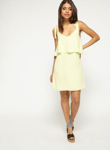 Miss Selfridge Womens Lemon Chiffon Tie Shoulder Shift Dress