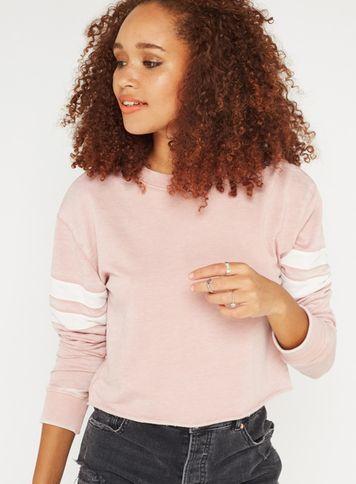 Miss Selfridge Womens Pink Stripe Sleeve Crop Sweatshirt