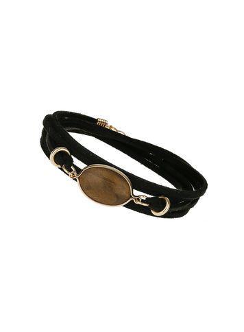 Miss Selfridge Womens Bead And Black Suede Bracelet