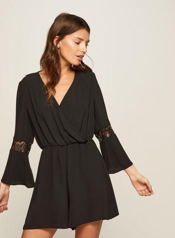 Miss Selfridge Womens Black Lace Playsuit