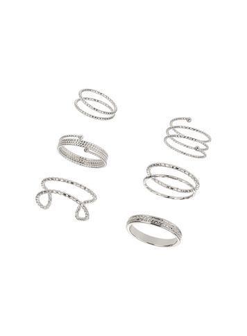 Miss Selfridge Womens Silver Diamond Cut Ring Pack