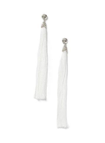 Miss Selfridge Womens Statement White Tassel Earring