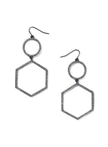 Miss Selfridge Womens Rhinestone Hexagon Earrings