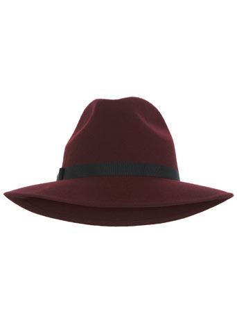 Burgundy Felt Fedora Hat
