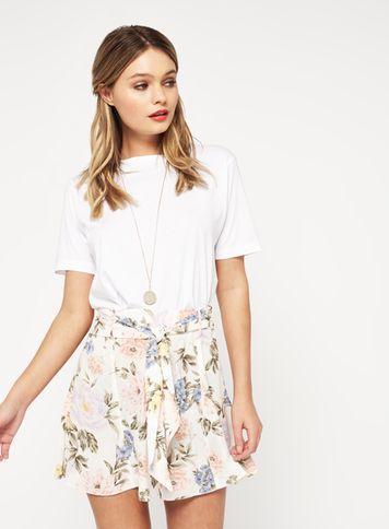 Miss Selfridge Womens Cream Floral Flippy Shorts