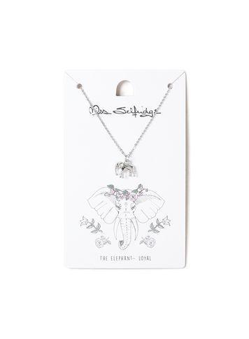 Miss Selfridge Womens Elephant Spirit Animal Ditsy Necklace