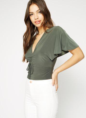 Miss Selfridge Womens Khaki Angel Sleeve Ruched Crop Top