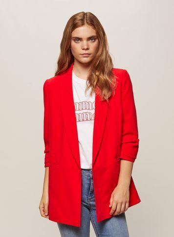 Miss Selfridge Womens Red Ruched Sleeve Blazer