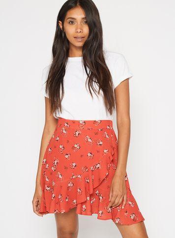 Miss Selfridge Womens Petite Asymmetric Floral Print Skirt