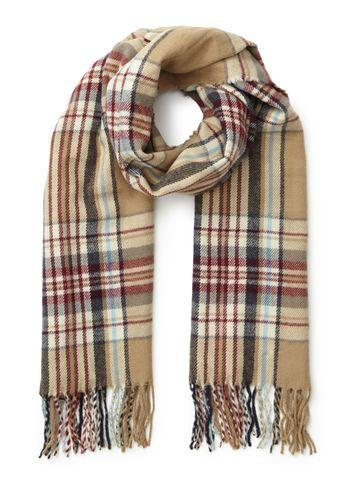 Miss Selfridge Womens Camel And Pink Checked Scarf