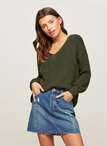 Miss Selfridge Womens Khaki Lattice Back Knitted Jumper