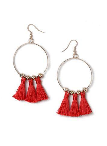 Miss Selfridge Womens Red Tassel Bead Hoops